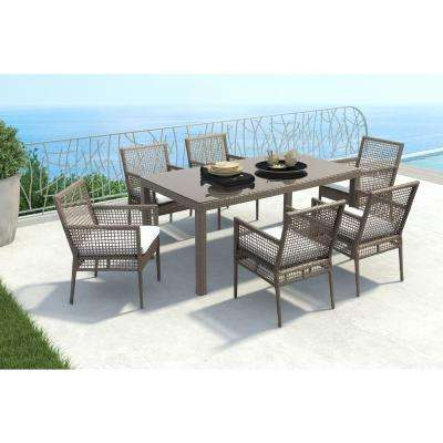 Coronado Cocoa Wicker Outdoor Patio Dining Chair with Light Gray Cushion (Set of 2)