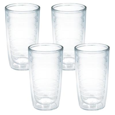 Clear Plastic 16 fl. oz. 4-Pack Double Walled Insulated Tumbler No Lid
