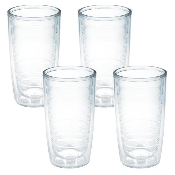 Clear Plastic 16 oz. 4-Pack Double Walled Insulated Tumbler No Lid