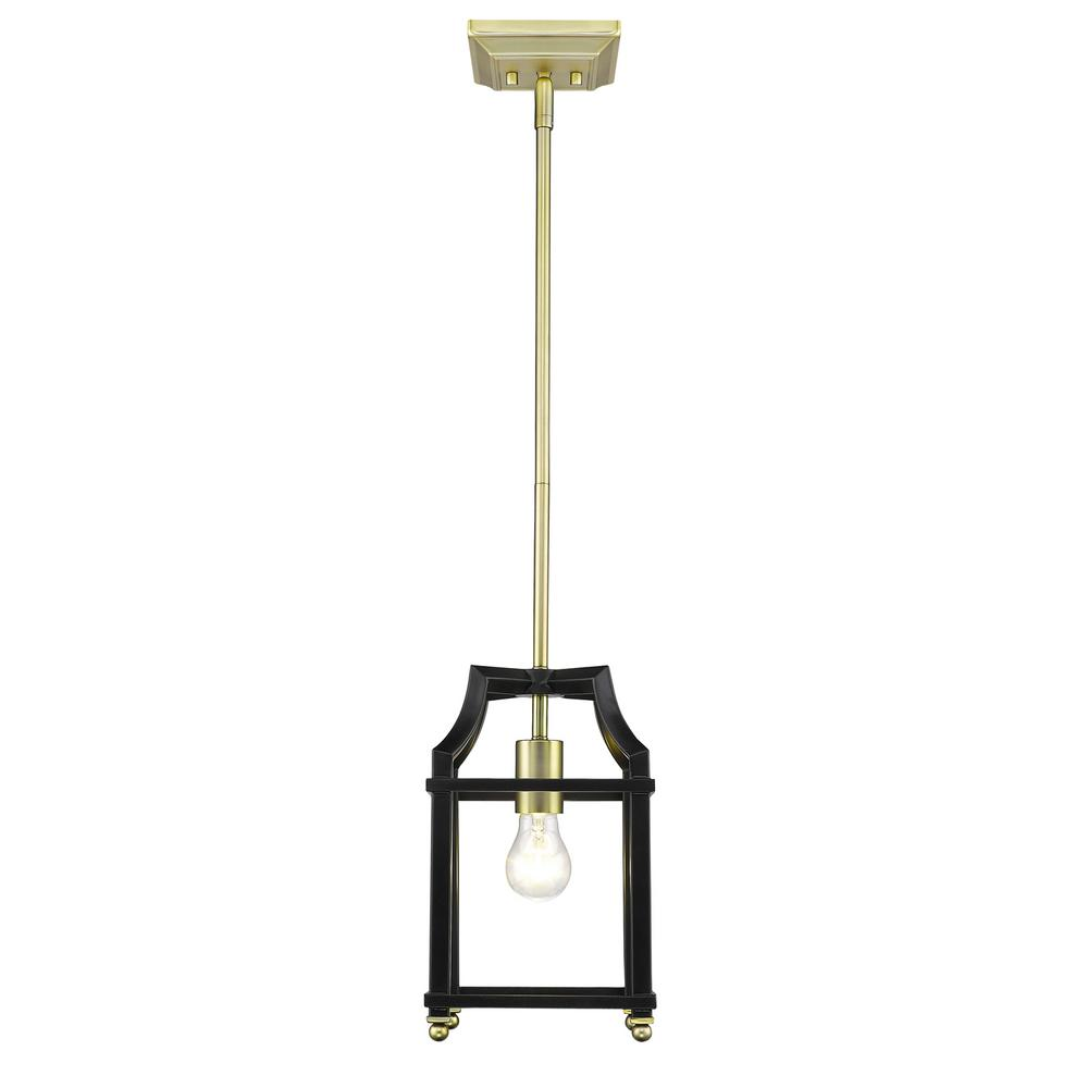 Leighton 1-Light Satin Brass and Black Pendant Light