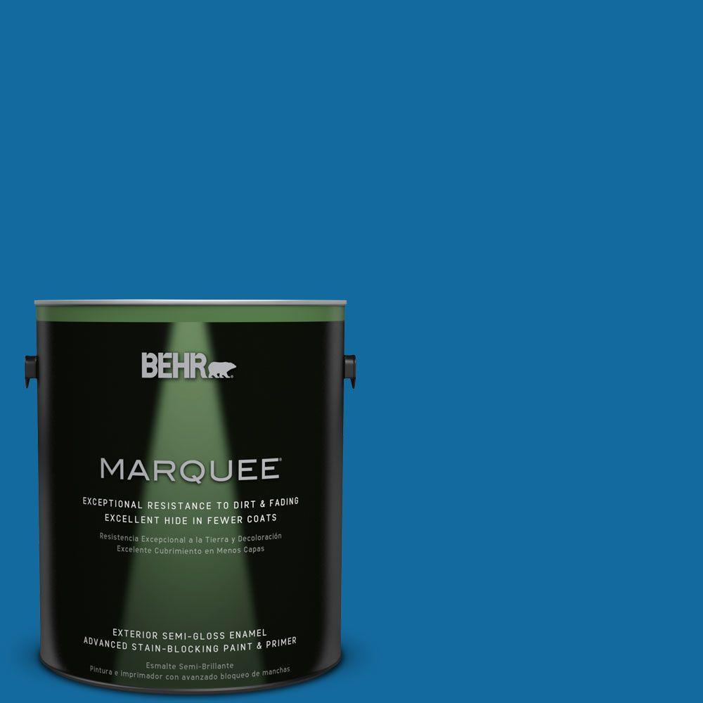 BEHR MARQUEE 1-gal. #P500-7 Cosmic Cobalt Semi-Gloss Enamel Exterior Paint