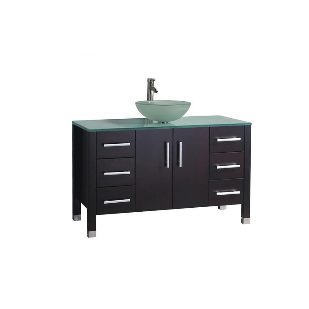 Caen 48 in. W x 20 in. D x 36 in. H Bath Vanity in Espresso with Glass Vanity Top in Glass with Glass Basin
