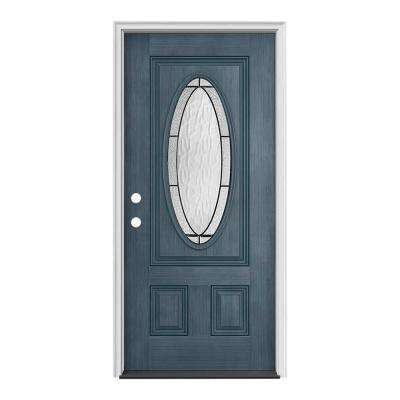 separation shoes e00e5 03fb1 34 in. x 80 in. 3/4 Oval Lite Wendover Denim Stained Fiberglass Prehung  Right-Hand Inswing Front Door