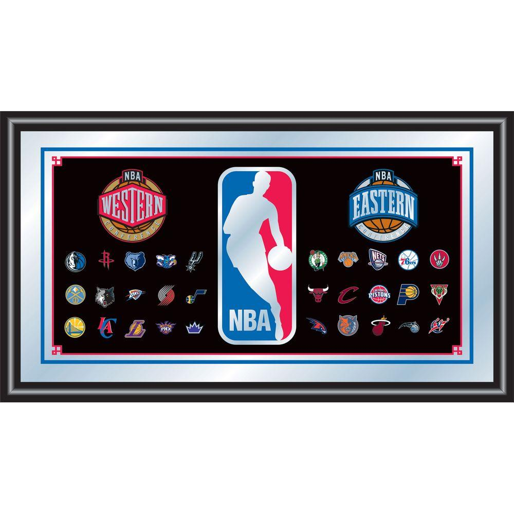 null NBA 15 in. x 26 in. Black Wood Framed Mirror