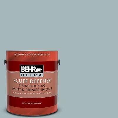 1 gal. #N470-3 Half Sea Fog Extra Durable Flat Interior Paint and Primer in One