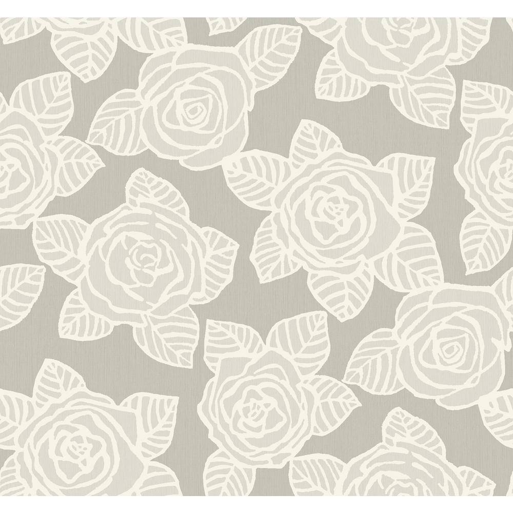 Seabrook Designs Bellvale Metallic Silver And Grey Floral