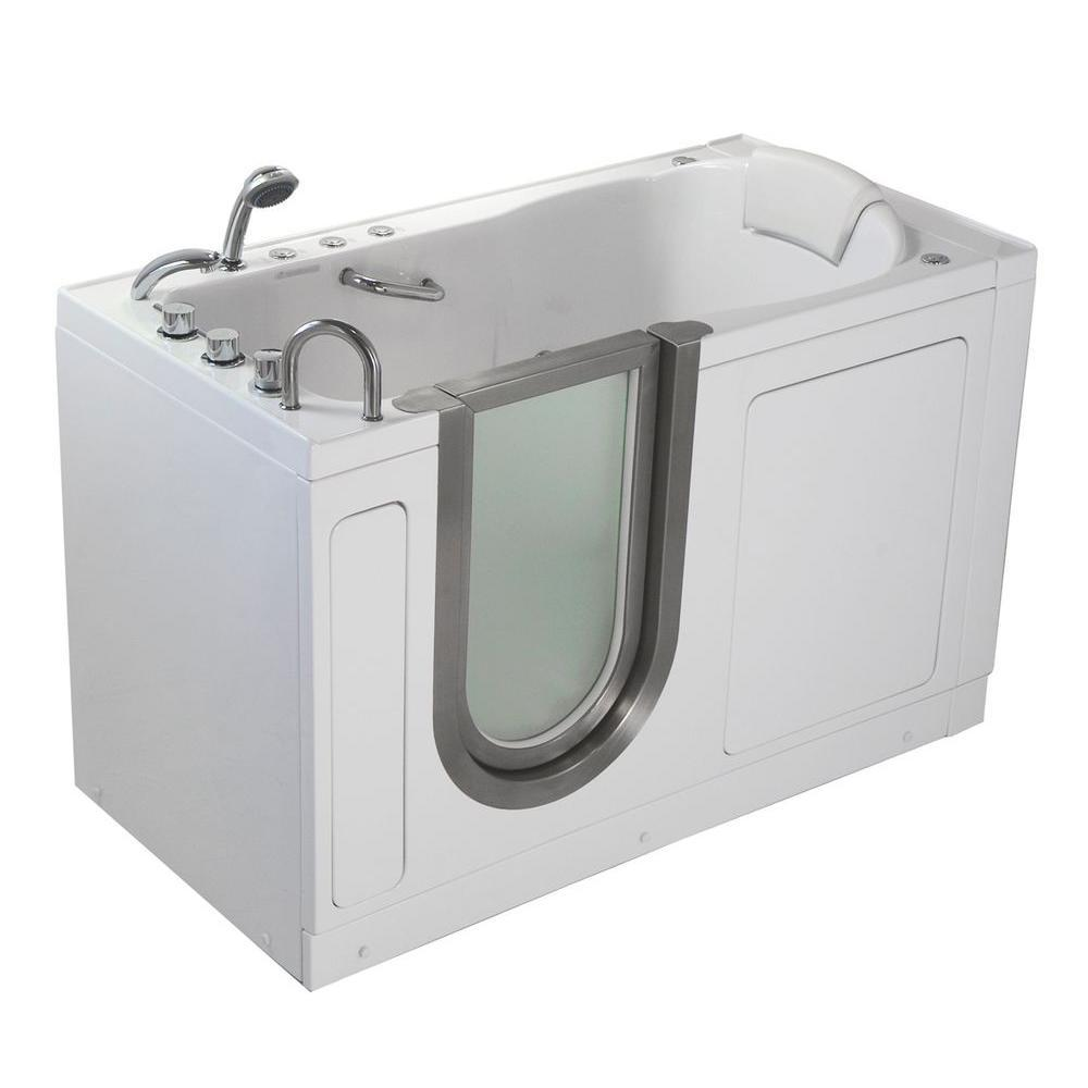 Ella Deluxe 55 in. Acrylic Walk-In Whirlpool and Air Bath Bathtub in White, Thermostatic Faucet Set, LHS 2 in. Dual Drain