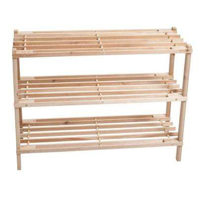 3-Tier 9-Pair Blonde Wood Storage Shoe Organizer