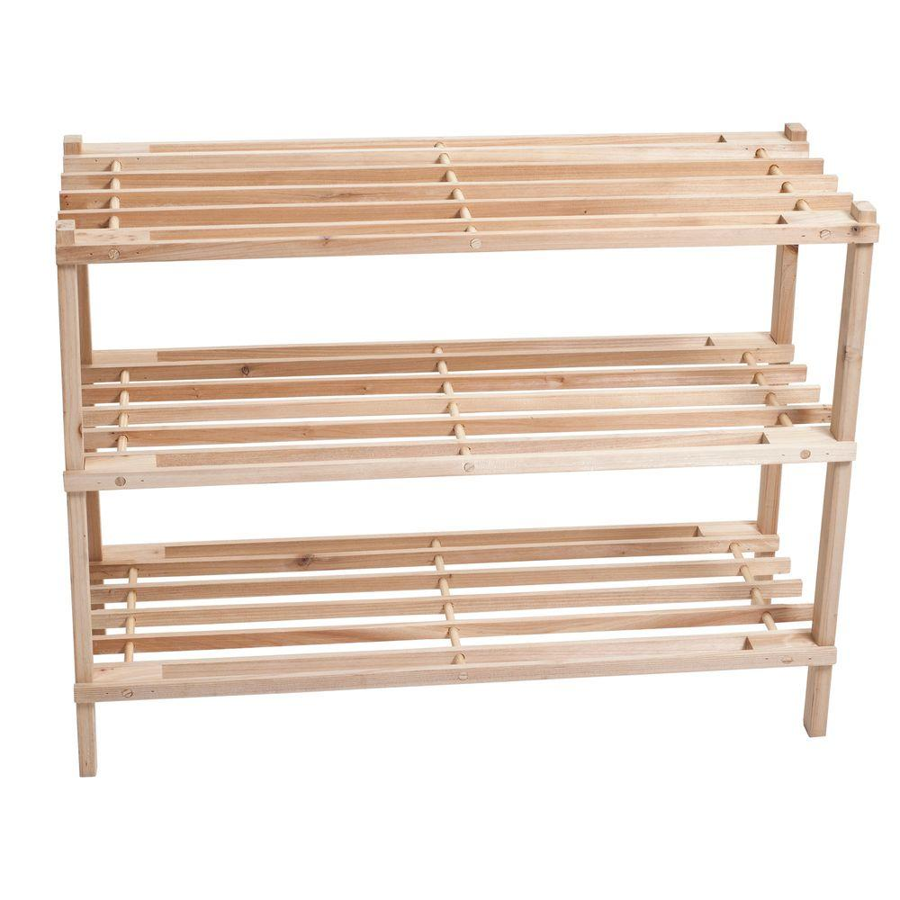 Lavish Home 3-Tier Blonde Wood Storage Shoe Rack-83-10-3 - The ...