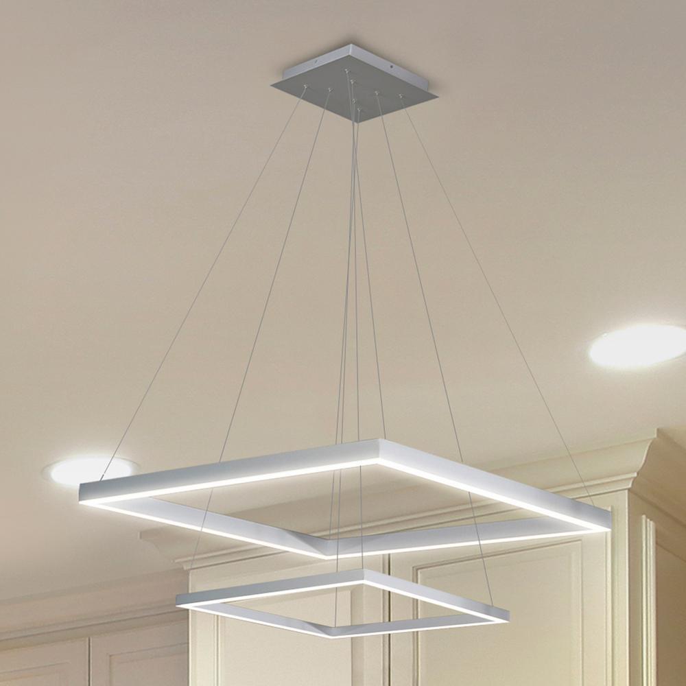 Jinko Led 5w Integrated Ceiling Lamp Bedroom Kitchen: VONN Lighting Atria Duo 55-Watt 20 In. Silver Integrated