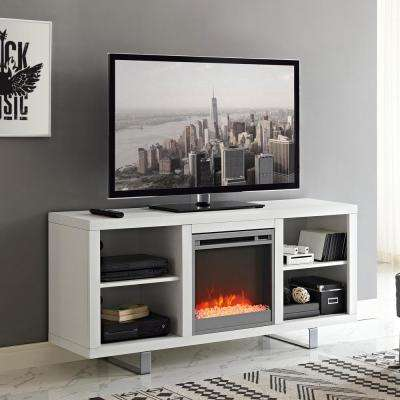 """58"""" Modern Electric Fireplace TV Stand - White"""