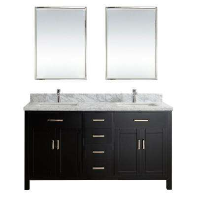 Kalize II 63 in. W x 22 in. D Vanity in Espresso with Marble Vanity Top in Gray with White Basin and Mirror