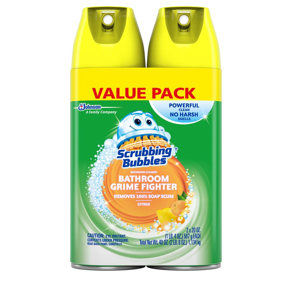 Scrubbing Bubbles 20 Oz Fresh Citrus Scent Disinfectant Bathroom Cleaner Pack Of 2 688727 The Home Depot