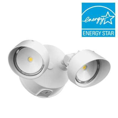 2-Head White Outdoor LED Round Flood Light