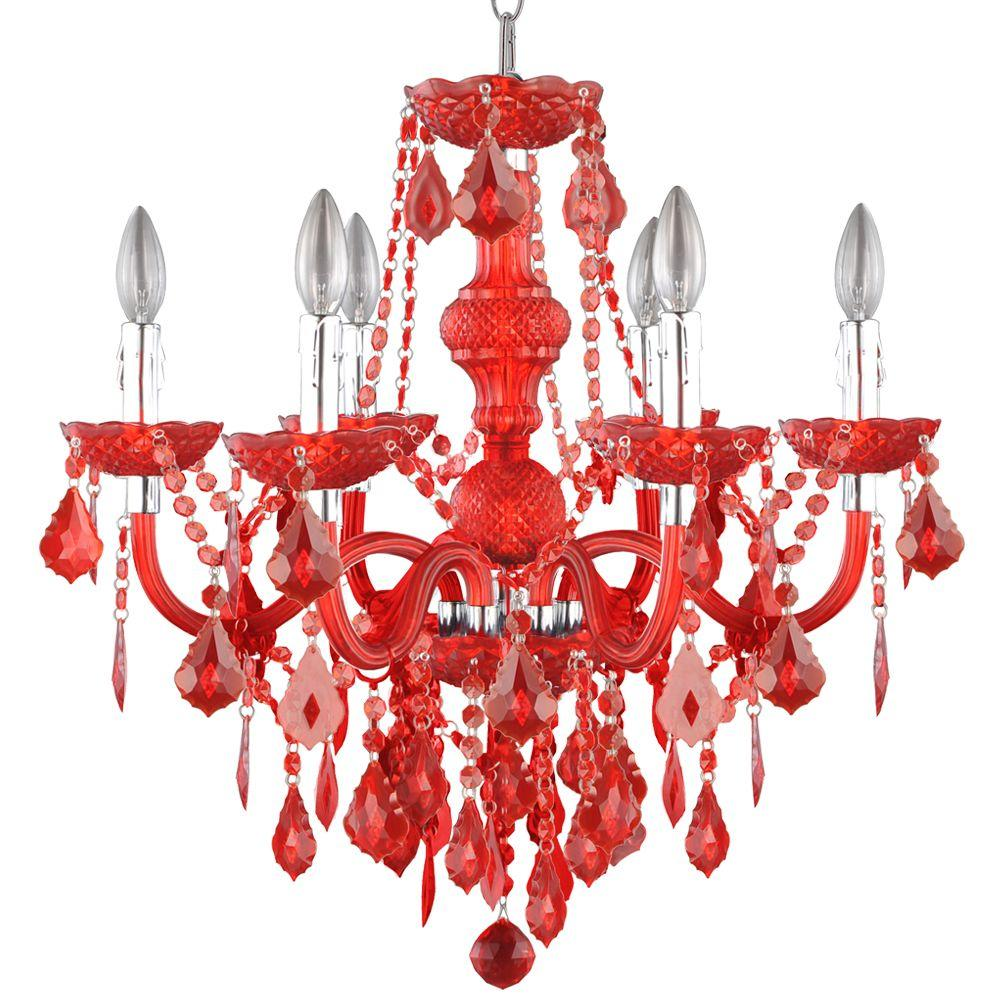 Hampton Bay Maria Theresa 6 Light Chrome And Red Acrylic Chandelier