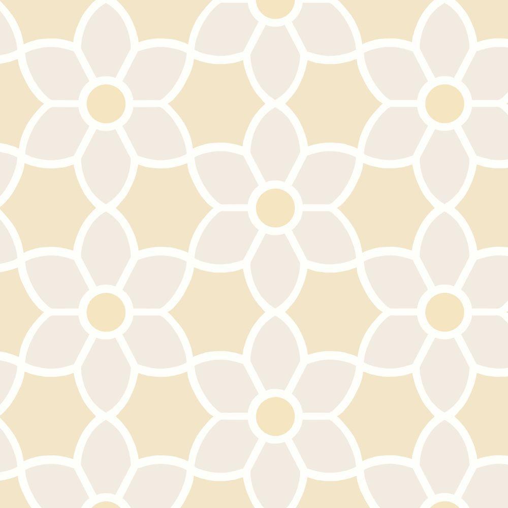 Blossom Beige Geometric Floral Wallpaper Sample