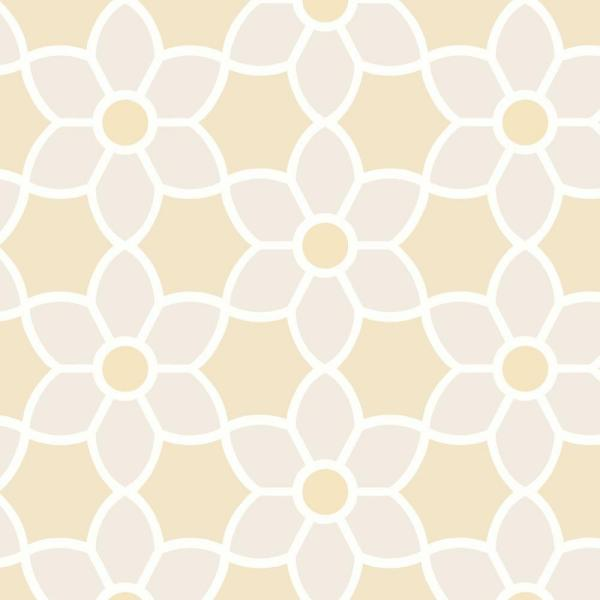 Beacon House Blossom Beige Geometric Floral Wallpaper Sample 2535-20608SAM