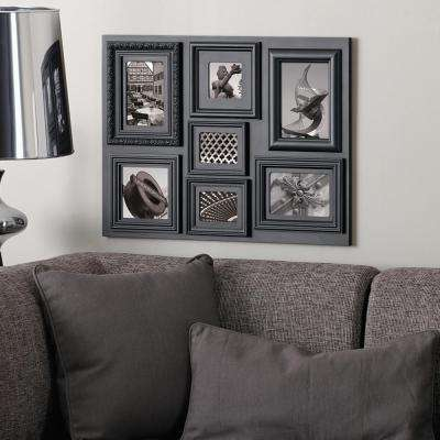 Fuse 7 Opening 1-3.5 x 3.5 in., 5 x 5 in. and 5 x 7 in. plus 2-4 x 3 in. and 4 x 6 in. Black Collage Frame
