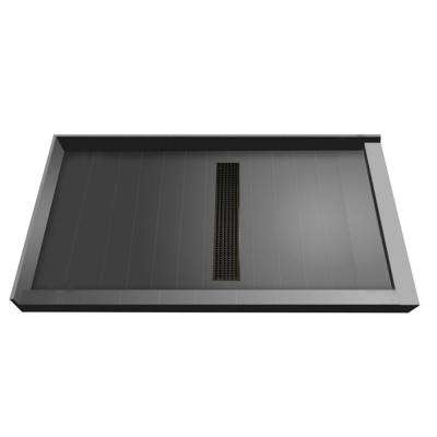34 in. x 60 in. Double Threshold Shower Base with Center Drain in Gray and Oil Rubbed Bronze Trench Grate