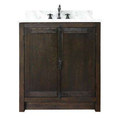 Plantation 31 in. W x 22 in. D Bath Vanity in Brown with Marble Vanity Top in White with White Oval Basin