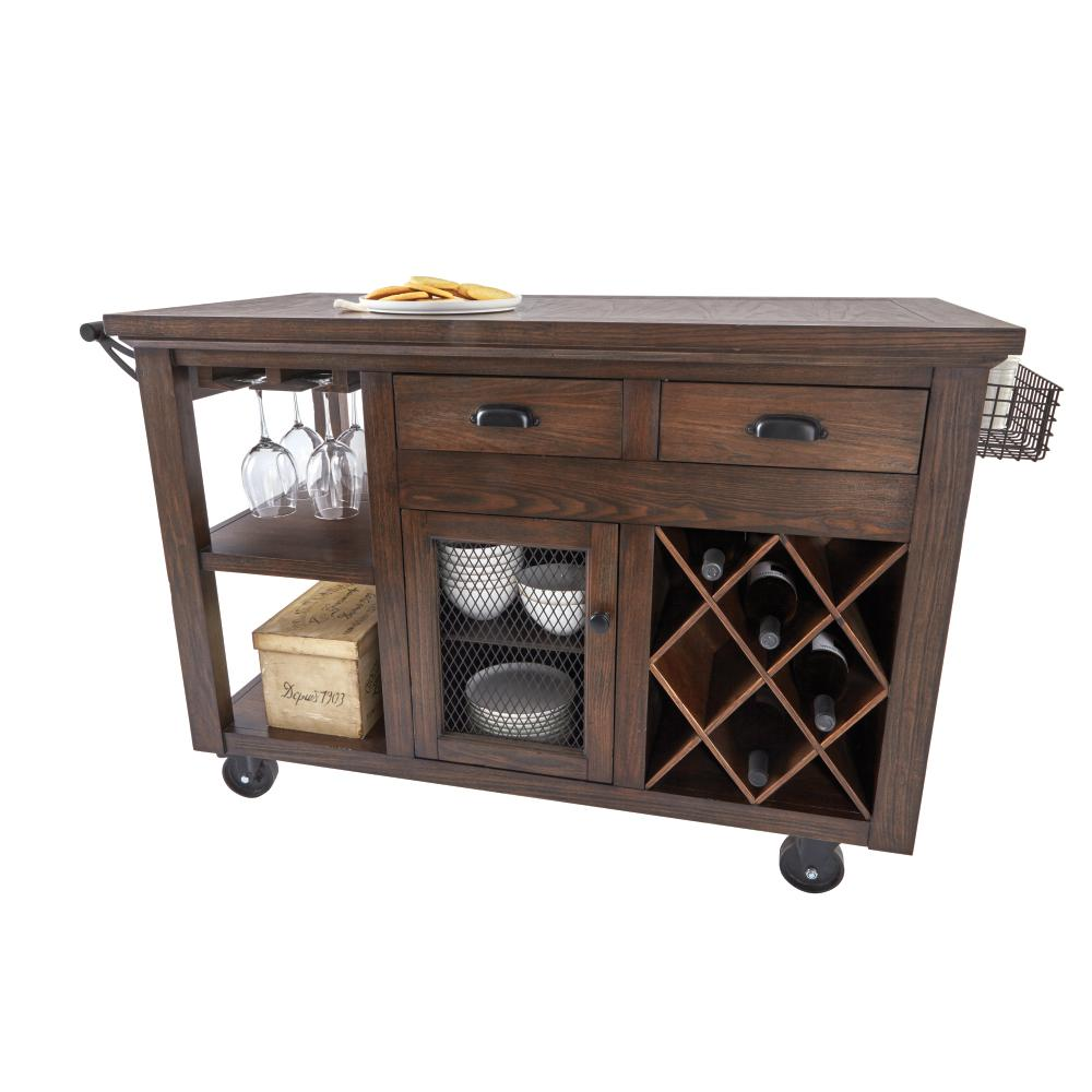 Home Decorators Collection Cooper Rustic Walnut Kitchen Cart with ...