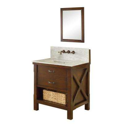 Xtraordinary Spa Premium 32 in. Vanity in Dark Brown with Marble Vanity Top in Carrara White and Matching Mirror