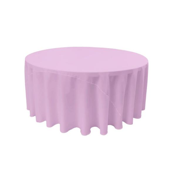 LA Linen 120 in. Lilac Polyester Poplin Round Tablecloth TCpop120R_LilacP45