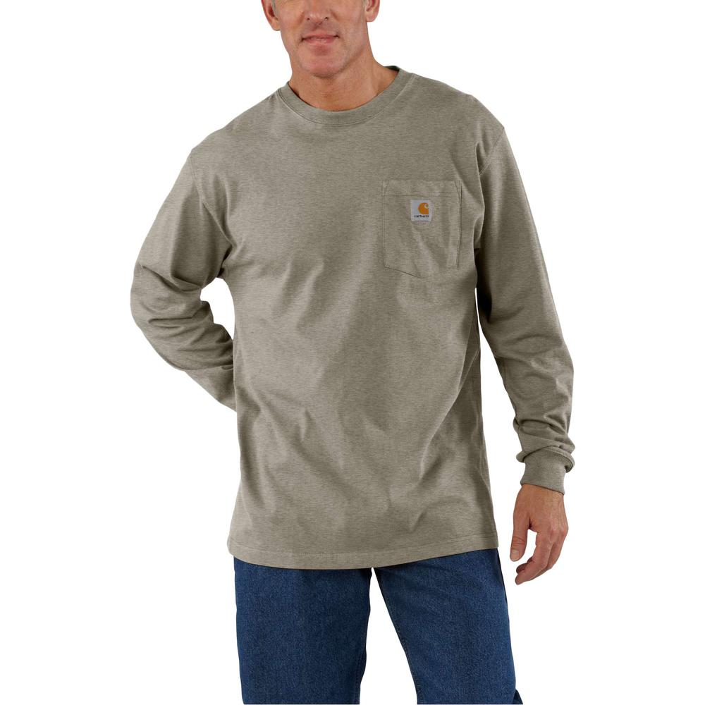 e4a706ed Men's Large Tall Desert Heather Cotton/ Polyester Workwear Pocket LS T-Shirt