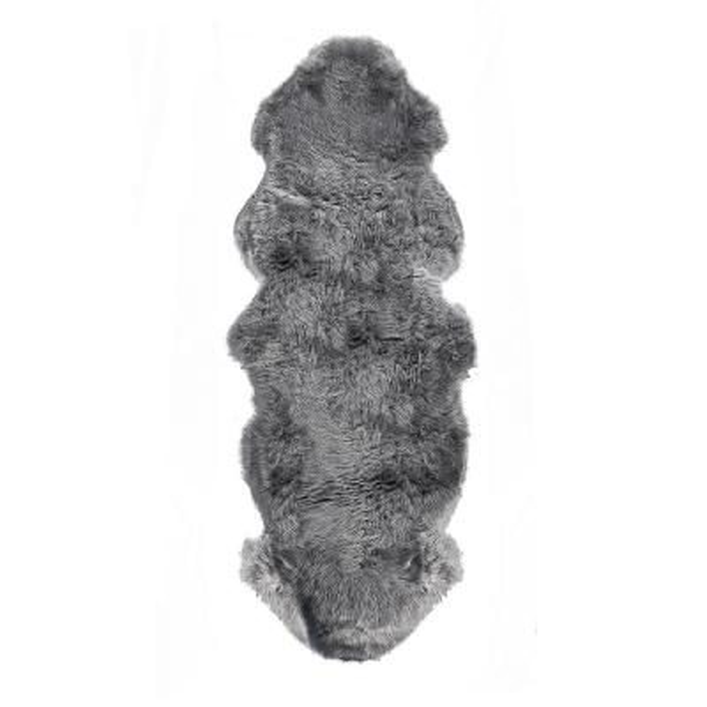 New Zealand Grey 2 ft. x 6 ft. Double Sheepskin Area Rug