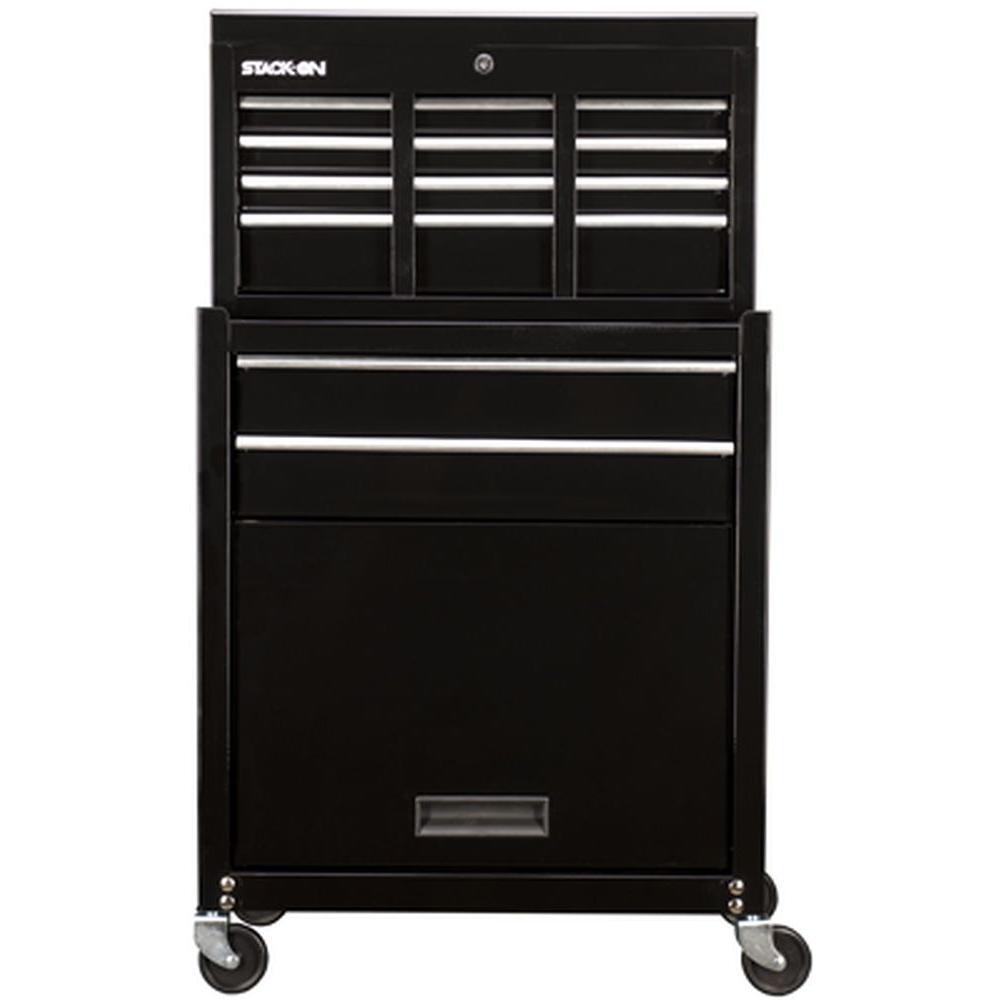 Stack-On 26 in. 6-Drawer Tool Chest Cabinet Combo in Black