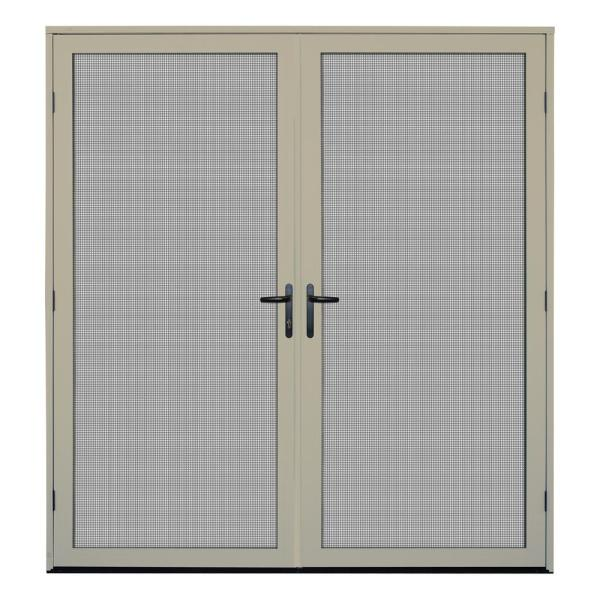 72 in. x 80 in. Almond Surface Mount Ultimate Security Screen Door with Meshtec Screen