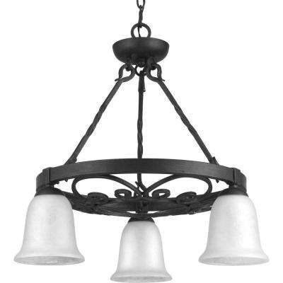 Enclave Collection 3-Light Gilded Iron Chandelier with Textured Glass Shade