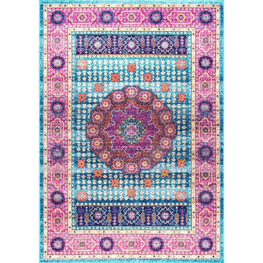 NuLOOM Persian Medallion Santina Aqua 5 Ft. X 7 Ft. 5 In