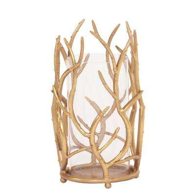 Gold Branches Hurricane Candle Holder Small