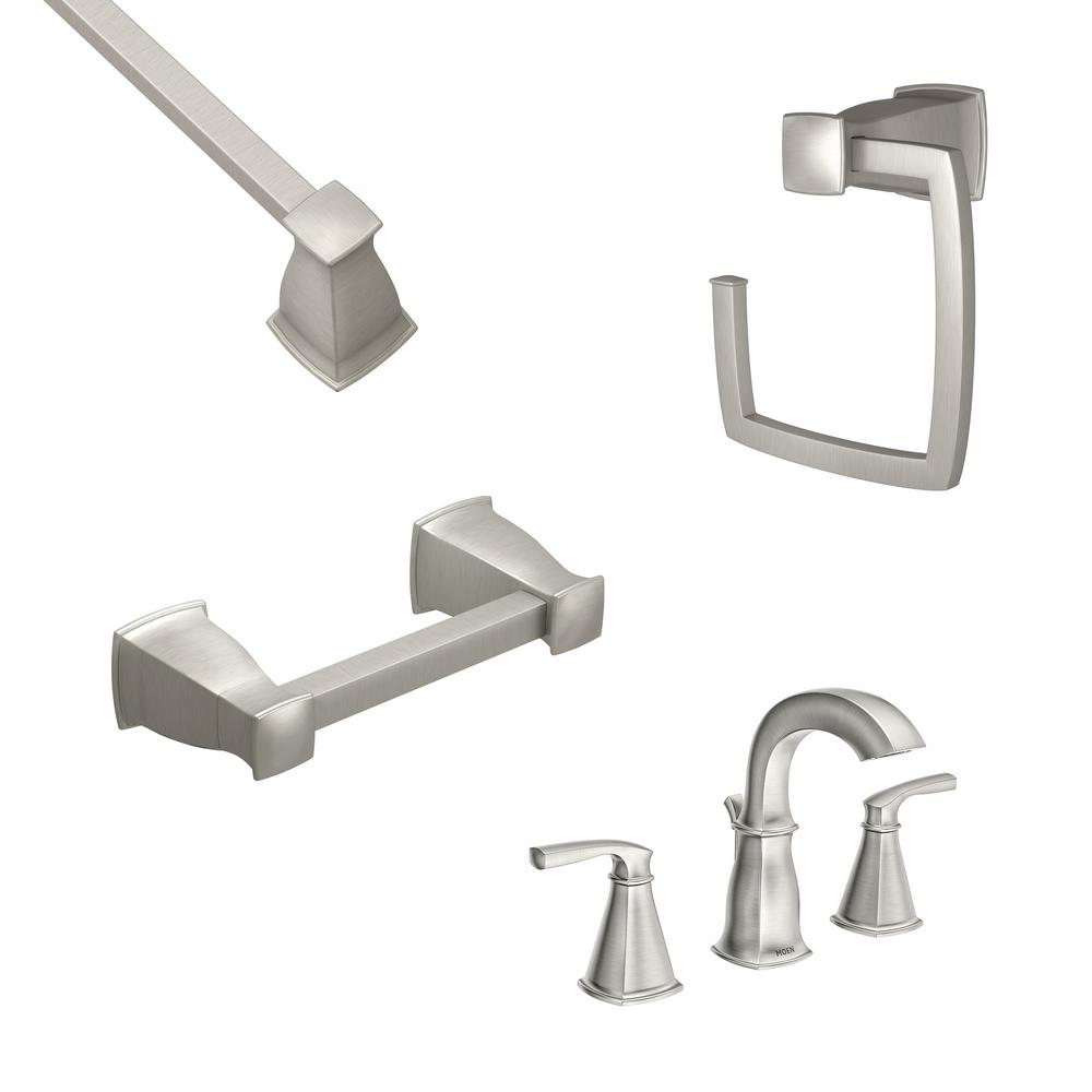 MOEN Hensley 8 in. Widespread 2-Handle Bathroom Faucet with 3-Piece Bath Hardware Set in Spot Resist Brushed Nickel