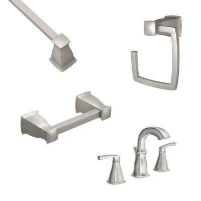Hensley 8 in. Widespread 2-Handle Bathroom Faucet with 3-Piece Bath Hardware Set in Spot Resist Brushed Nickel