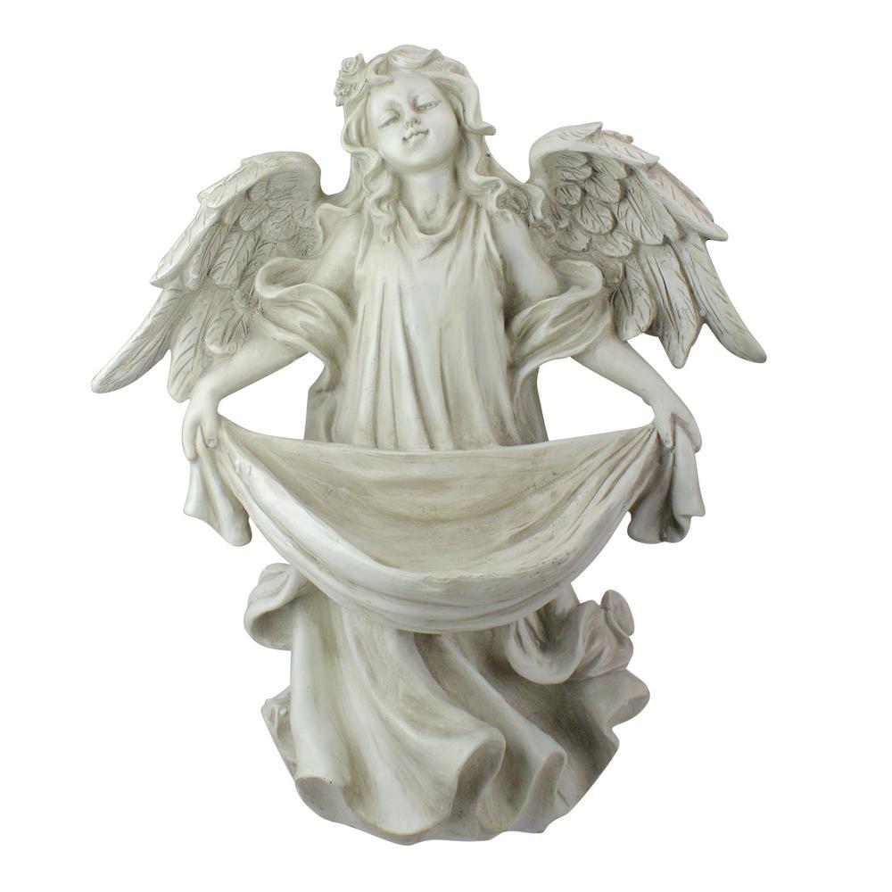 18.5 in. Serene Angel Bird Feeder Garden Statue