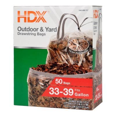 HDX FlexPro 33 Gal  - 39 Gal  Black Drawstring Outdoor and Yard