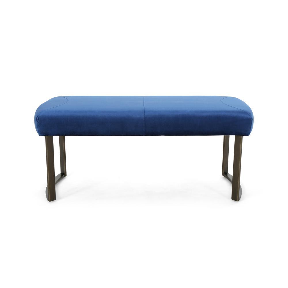 Bestwick Modern Navy Blue Velvet Bench with Antique Brass Stainless Steel Legs
