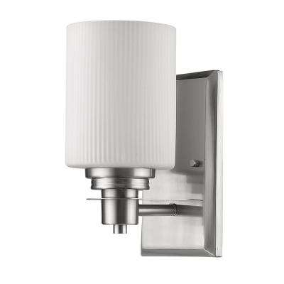 Amelia 1-Light Satin Nickel Sconce with Ribbed Glass Shade