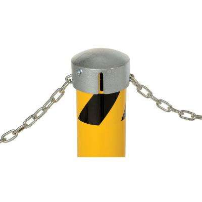 42 in. X 4.5 in. Yellow Steel Pipe Safety Bollard with Slot & Sleeve Cap