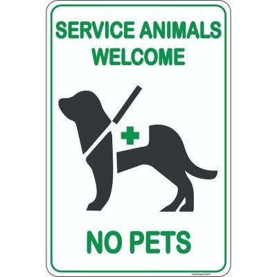 8 in. x 12 in. Plastic Service Animals Dogs Welcome Sign