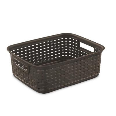 15 in. x 5.25 in. x 12.25 in. Decorative Wicker Style Short Weave Espresso Plastic Storage Basket (24-Pack)