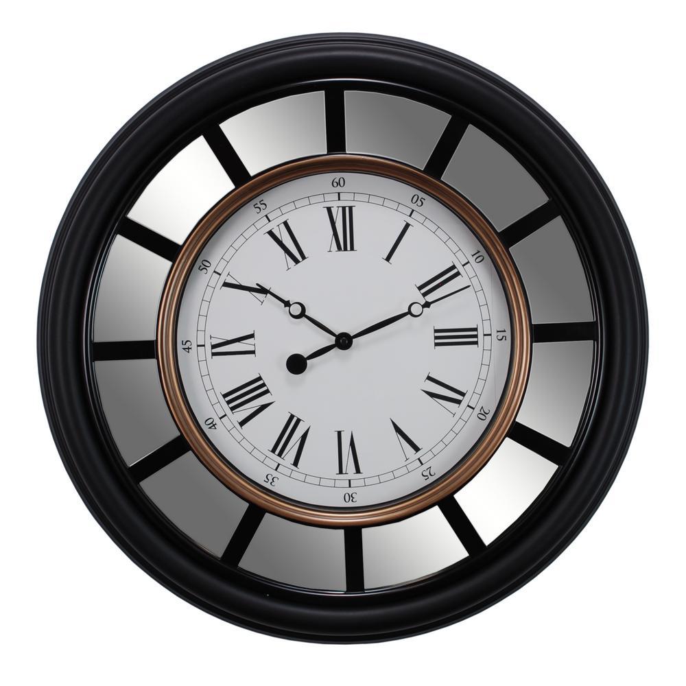 Kiera Grace Milan Oversized 22 inch Wall Clock with Mirror Accent 2-1/2 inch D - Black... by Kiera Grace