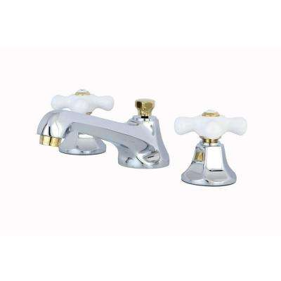 8 in. Widespread 2-Handle Mid-Arc Bathroom Faucet in Chrome and Polished Brass