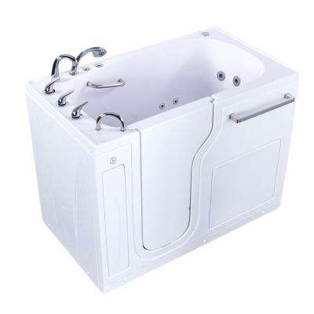 Aqua 52 in. Acrylic Walk-In Whirlpool and Air Bath Bathtub in White w/ Left Door, Heated Seat, Fast Fill Faucet,LH Drain