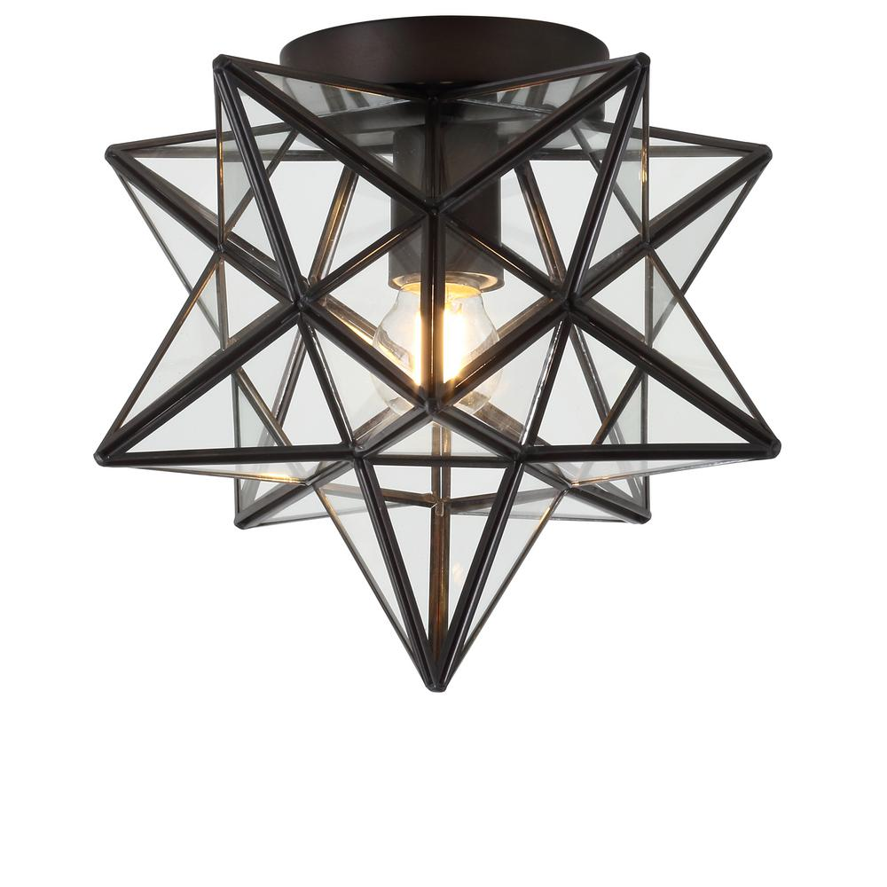 JONATHAN Y Stella 9.75 in. 1-Light Oil Rubbed Bronze Moravian Star Metal/Glass LED Pendant