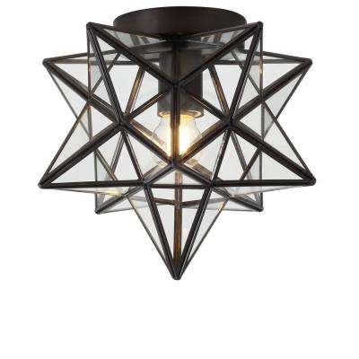 Stella 9.75 in. 1-Light Oil Rubbed Bronze Moravian Star Metal/Glass LED Pendant