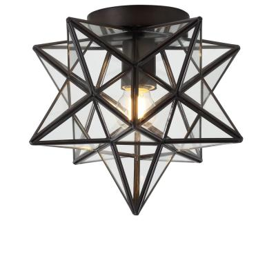Stella 12 in. Moravian Star Metal/Clear Glass LED Flush Mount, Oil Rubbed Bronze