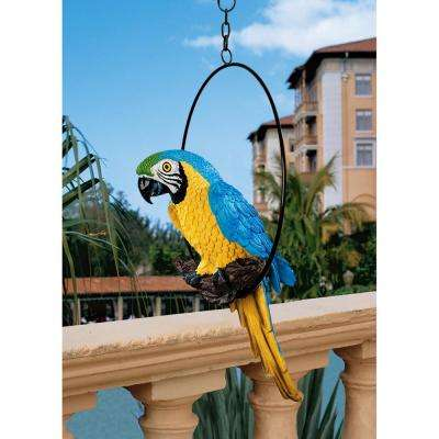14 in. H Polly in Paradise Medium Parrot Hanging Sculpture on Ring Perch